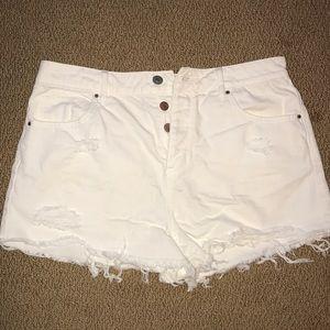 White high wait jean shorts